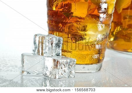 Closeup Ice Tea With Dewdrop On Cubes