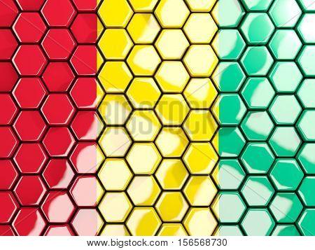 Flag Of Guinea, Hexagon Mosaic Background