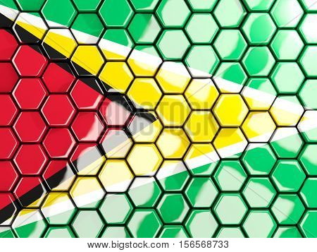 Flag Of Guyana, Hexagon Mosaic Background