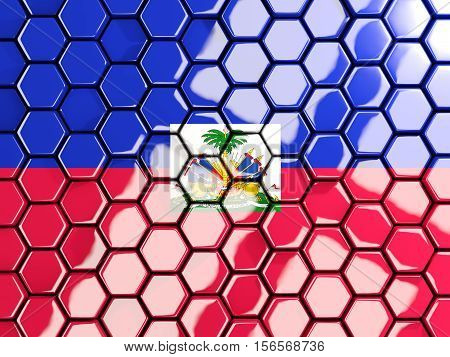 Flag Of Haiti, Hexagon Mosaic Background