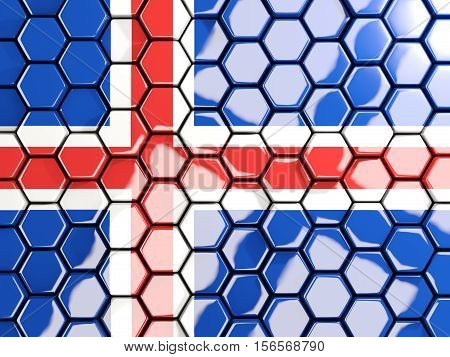 Flag Of Iceland, Hexagon Mosaic Background