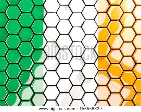 Flag Of Ireland, Hexagon Mosaic Background