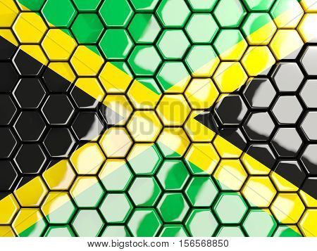 Flag Of Jamaica, Hexagon Mosaic Background