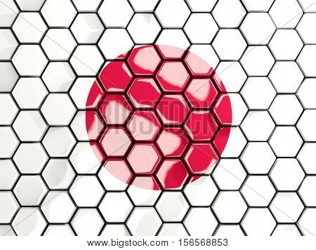 Flag Of Japan, Hexagon Mosaic Background