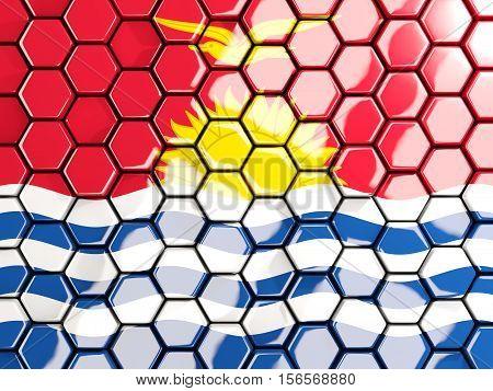 Flag Of Kiribati, Hexagon Mosaic Background