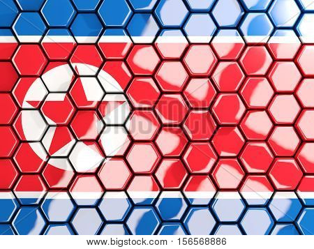 Flag Of Korea North, Hexagon Mosaic Background