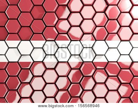 Flag Of Latvia, Hexagon Mosaic Background