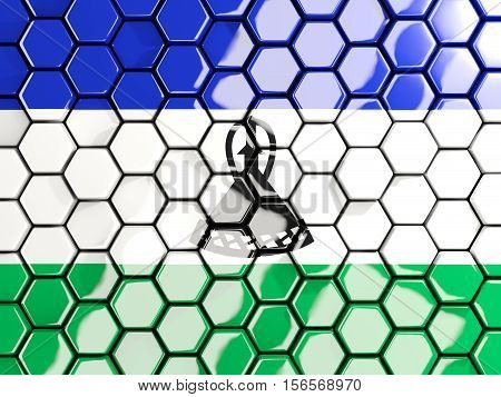 Flag Of Lesotho, Hexagon Mosaic Background
