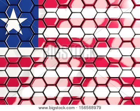 Flag Of Liberia, Hexagon Mosaic Background
