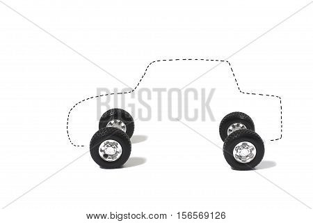 Outline of Car on Four Tires on White Background