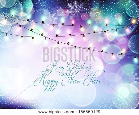 Vector background for Christmas and New Year. Bright, festive blue background with blur, garland and snowflakes