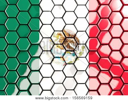 Flag Of Mexico, Hexagon Mosaic Background