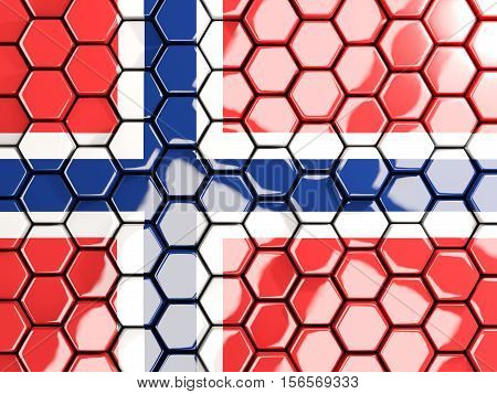 Flag Of Norway, Hexagon Mosaic Background