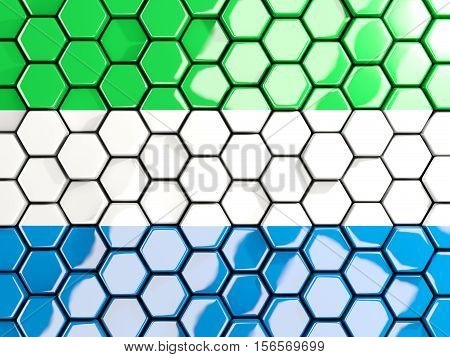 Flag Of Sierra Leone, Hexagon Mosaic Background