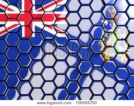 Flag Of South Georgia And The South Sandwich Islands, Hexagon Mosaic Background