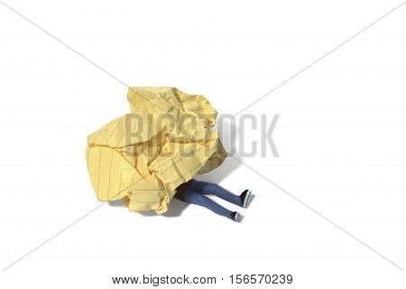 Still life of a Toy Person Trapped Under Crumpled Paper on White Background
