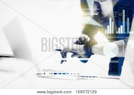 Double Exposure Of Business Woman Prepare Documents And Looking My Watch With Blur City Day And Nigh