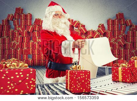 3D Rendering santa claus checking on list xmas gift boxes and wrapped on conveyor roller