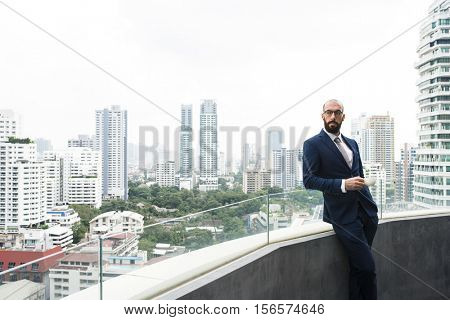 Business Person Standing Balcony Concept
