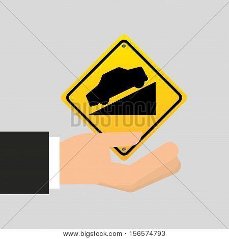 road sign steep decline icon vector illustration eps 10