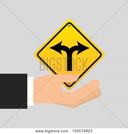 road sign fork arrow icon vector illustration eps 10
