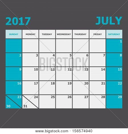 July 2017 calendar week starts on Sunday, stock vector
