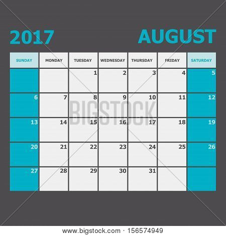August 2017 calendar week starts on Sunday, stock vector