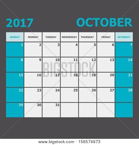 October 2017 calendar week starts on Sunday, stock vector