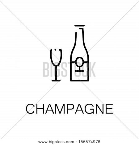 Champagne flat icon. Single high quality outline symbol of alcohol for web design or mobile app. Thin line signs of champagne for design logo, visit card, etc. Outline pictogram of champagne