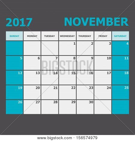 November 2017 November calendar week starts on Sunday, stock vector