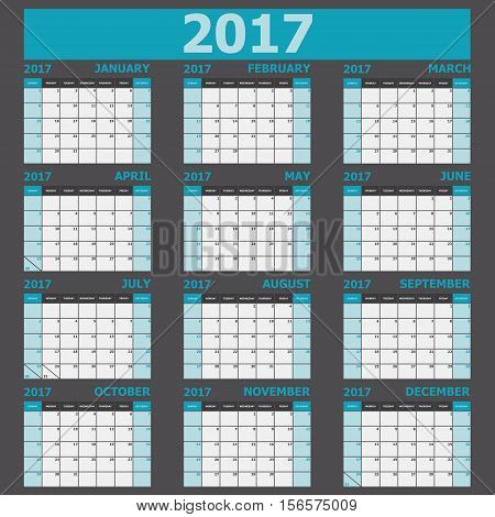 Calendar 2017 week starts on Sunday (12 months set), stock vector