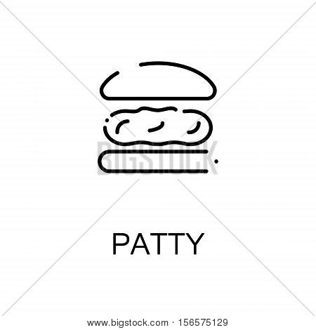 Patty flat icon. Single high quality outline symbol of meat food for web design or mobile app. Thin line signs of patty for design logo, visit card, etc. Outline pictogram of patty