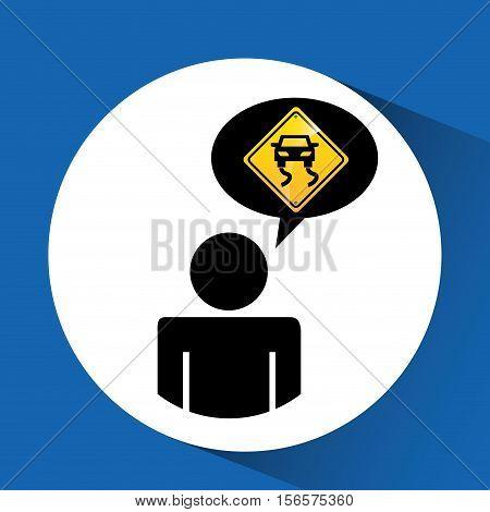 road sign slippery silhouette man vector illustration eps 10