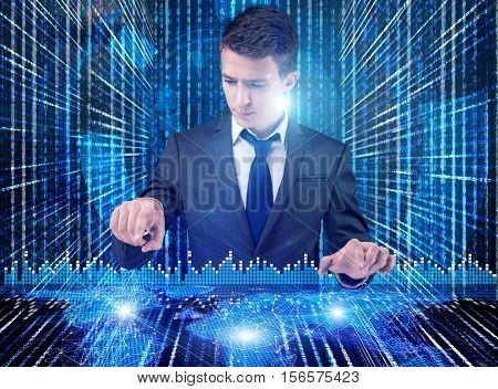 BUsinessman in futuristic computing concept