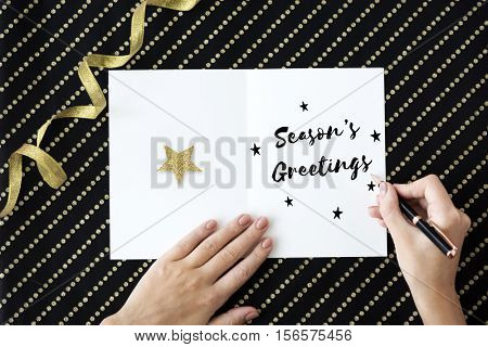 Merry Christmas and Happy New Year Family Holiday Festival Concept