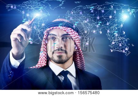 Arab man in social networks concept