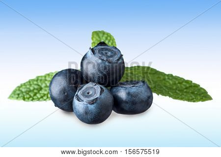 Extreme close-up image of blueberries with minth