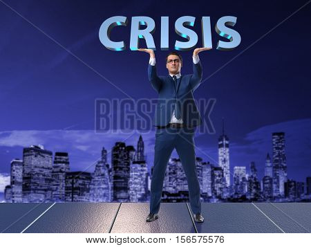 Businessman in crisis business concept