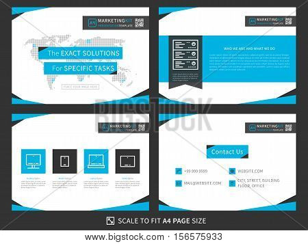 Corporate presentation vector template. Modern business presentation graphic design. Minimalistic layout with infographic front page content page products and contact info.