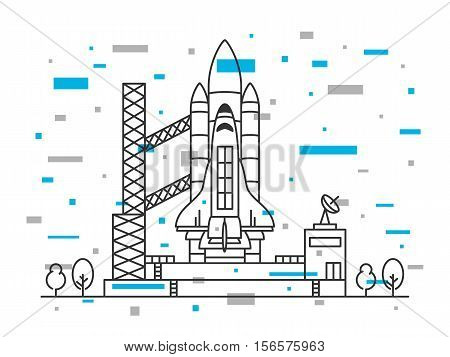Space shuttle vector illustration. Spaceship on space-vehicle launching site space centre cosmodrome spacedrome. Spacecraft crative line art concept. Rocket ready to start outline design.