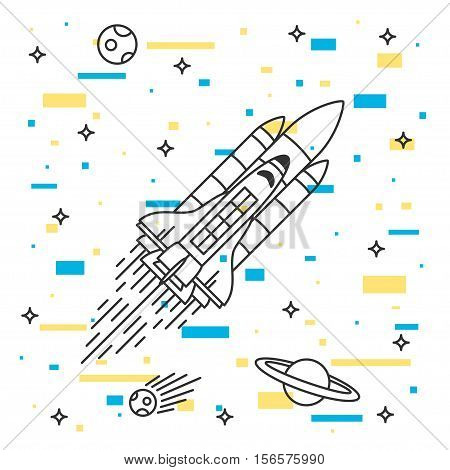 Space shuttle flight vector illustration. Spaceship in space with stars planets asteroid. Space adventure graphic design. Rocket flight outline creative concept.