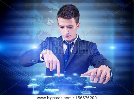 Man in cloup computing concept