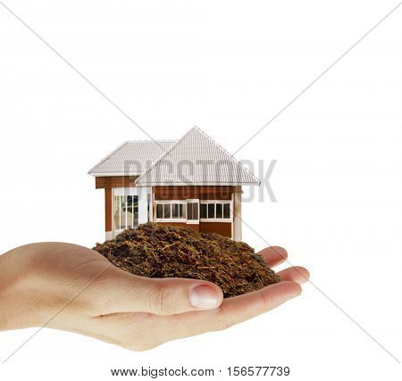 man house in human hands