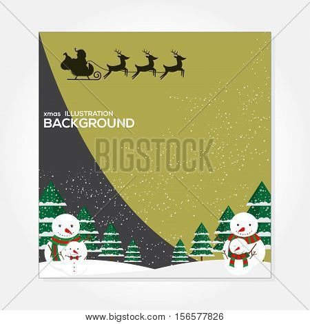 xmas Illustration Background fullmoon with snowman and santa