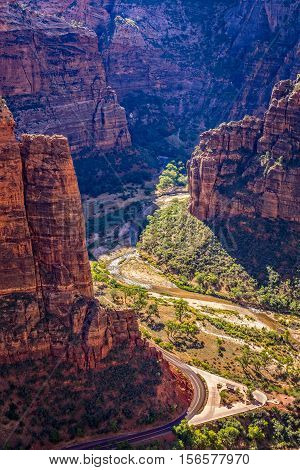 Zion Canyon from Angels Landing Trail, Zion National park, Utah, USA