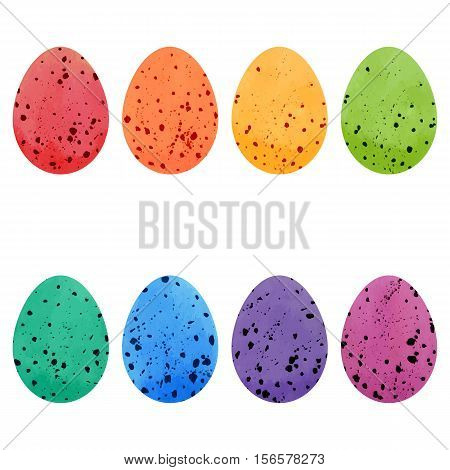 Watercolor Easter eggs set. Vector design elements.