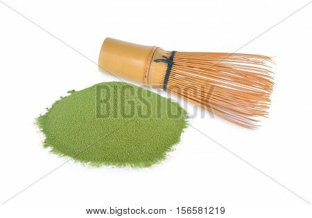 Matcha Chasen Whisks and green tea powder on white background