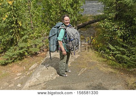 On a Wilderness Portage in Quetico Provincial Park in Ontario