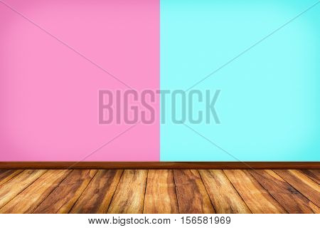 Room interior vintage with color wall and wood floor background