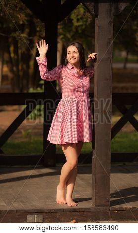 Portrait of rural girls in the autumn park